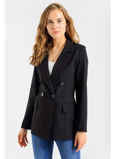 Jument Kadın Blazer Düğme Detaylı Uzun Kol Şık Ofis Süs Cep Kapaklı Ceket Siyah
